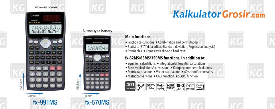 Kalkulator Ilmiah Casio Model Standar